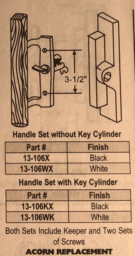 Acorn sliding patio door replacement handle set with and without keys