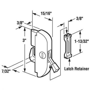 E2077 patio door lock dimensions