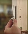 Andersen patio door lock with alignment pin