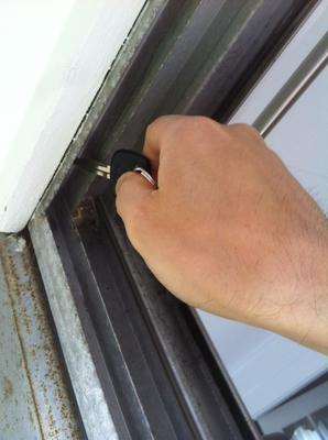 Top of door frame. I measured from the top of the channel - where key is pointing