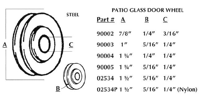 Patio Slider Bearing List